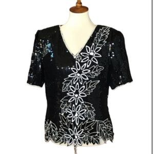VTG Stenay Black & White Beaded Sequined Silk Top